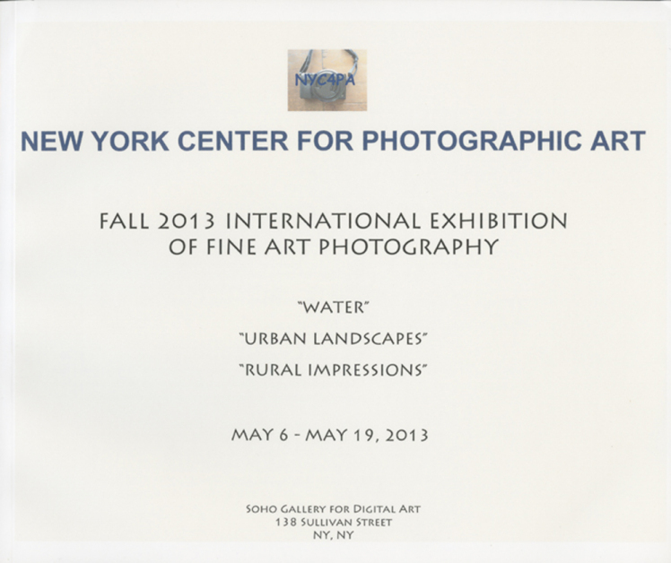 New York Center For Photographic Art, International Exhibition Of Fine Art And Photography, Exhibition Catalogue 2013